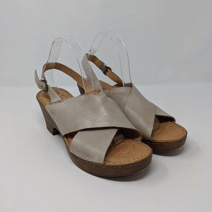 Born Beige Leather Strappy Wedge Sandals Womens 11